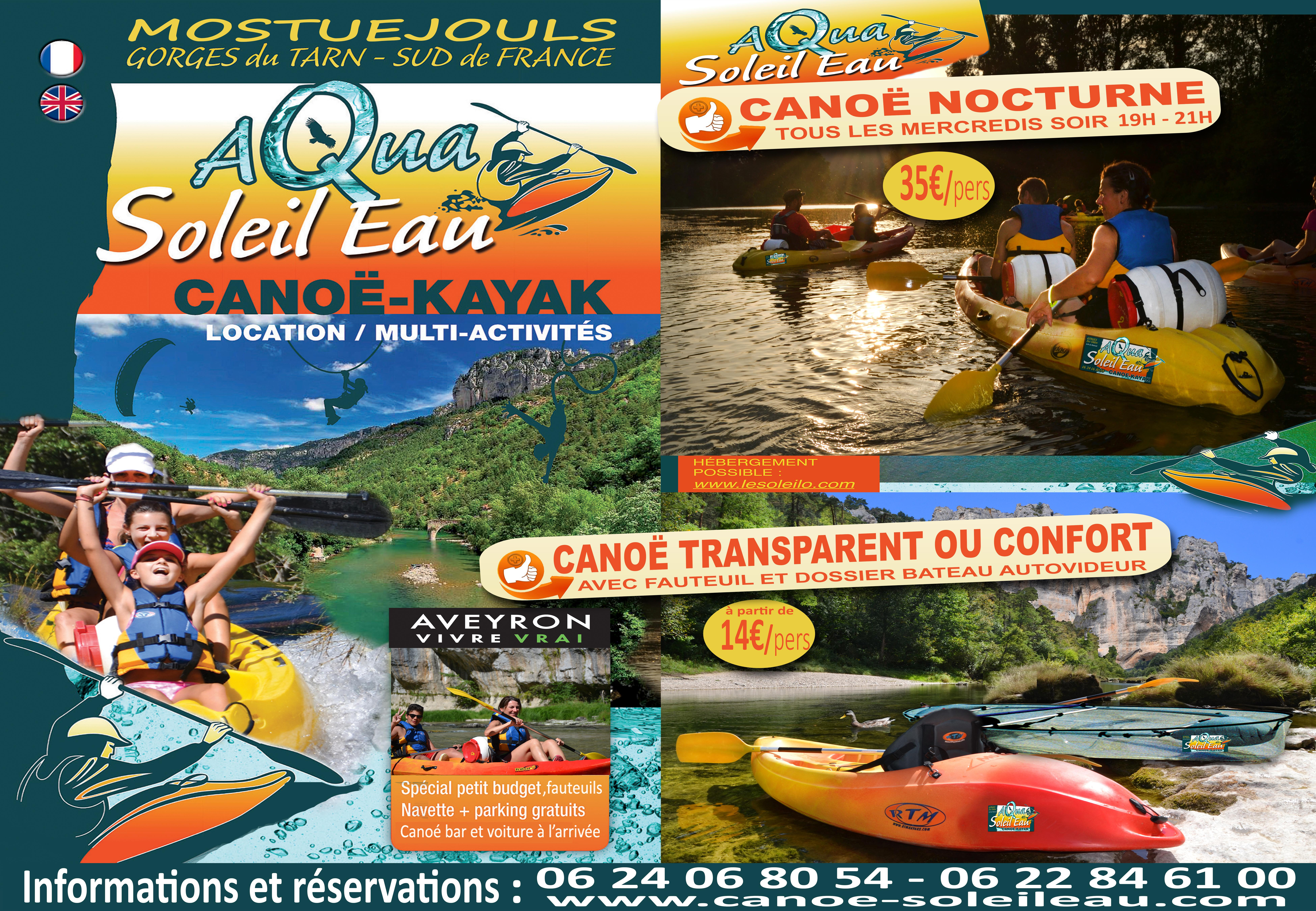 Canoe in the Tarn Gorges, Canoe rental South Aveyron Tarn with Aqua Soleil Water Canoe canoe nocturnal fun and playful and transparent canoe
