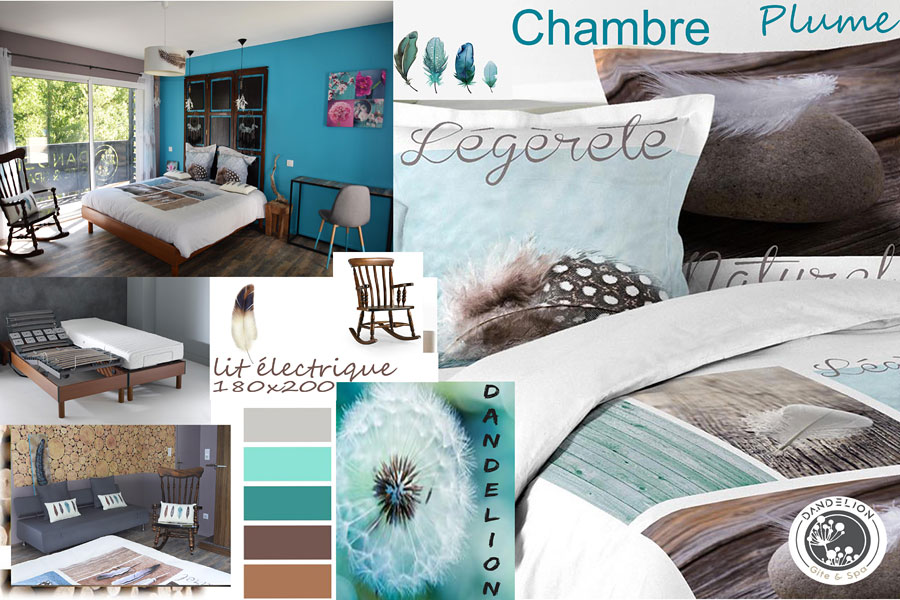 design and nature room feather decoration king size electric bed in contemporary architect villa Dandelion nature design spa pool group cottage Gorges of the Tarn Millau Viaduct Aveyron Lozere Occitania