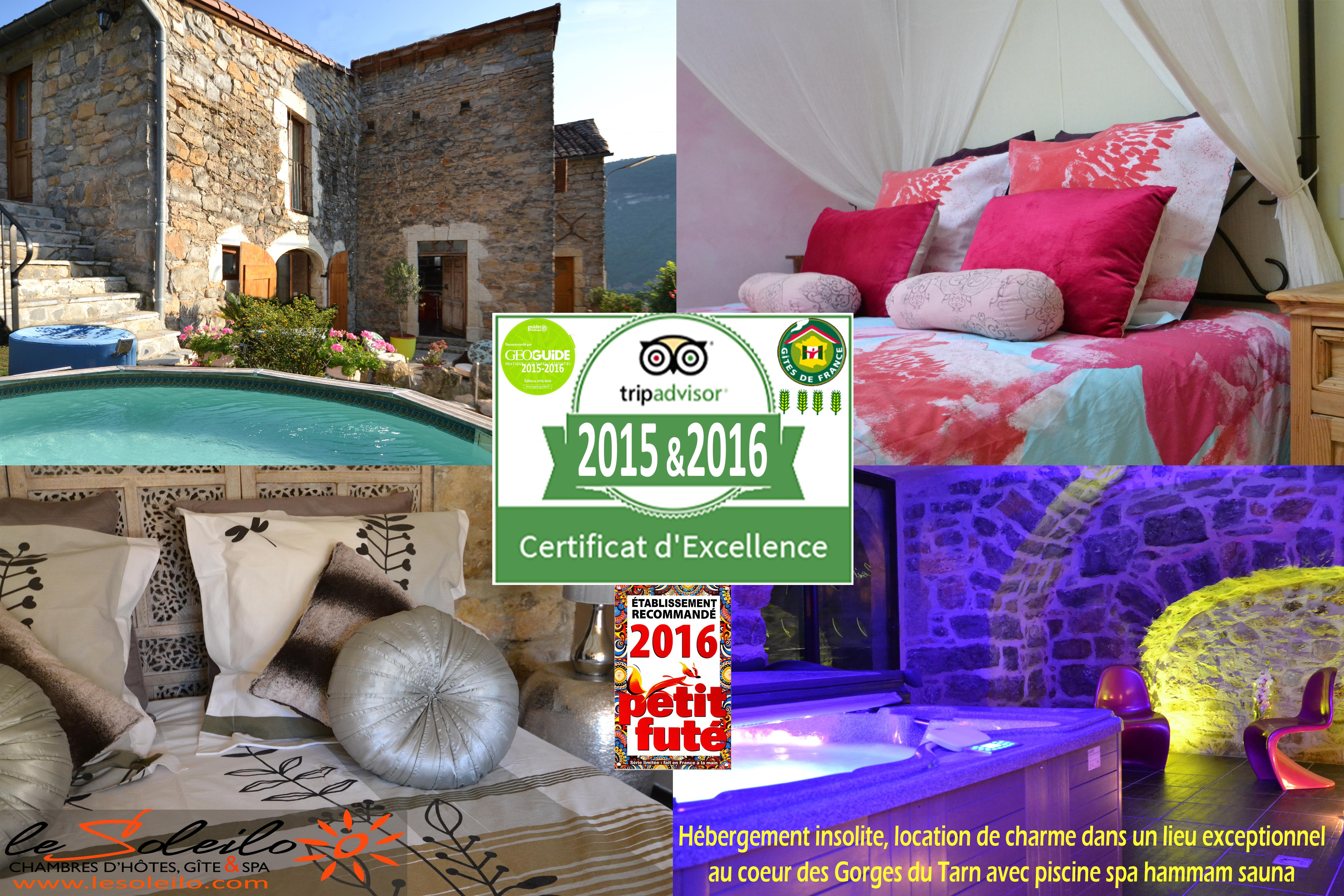 Certificate of excellence 2015 and 2016, the Soleilo, elected quality holiday accommodation in Aveyron Gorges of the Tarn by Tripadvisor and recommended by the Geoguide Lot Aveyron Tarn and by Petit Futé Aveyron