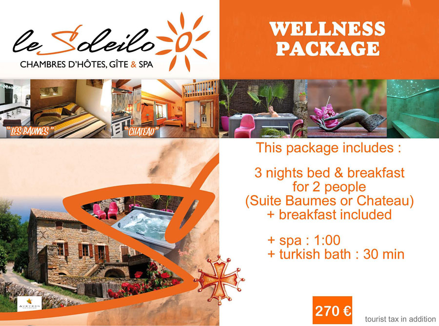 Wellness package : bed and breakfast in Gorges du Tarn with spa and turkish bath