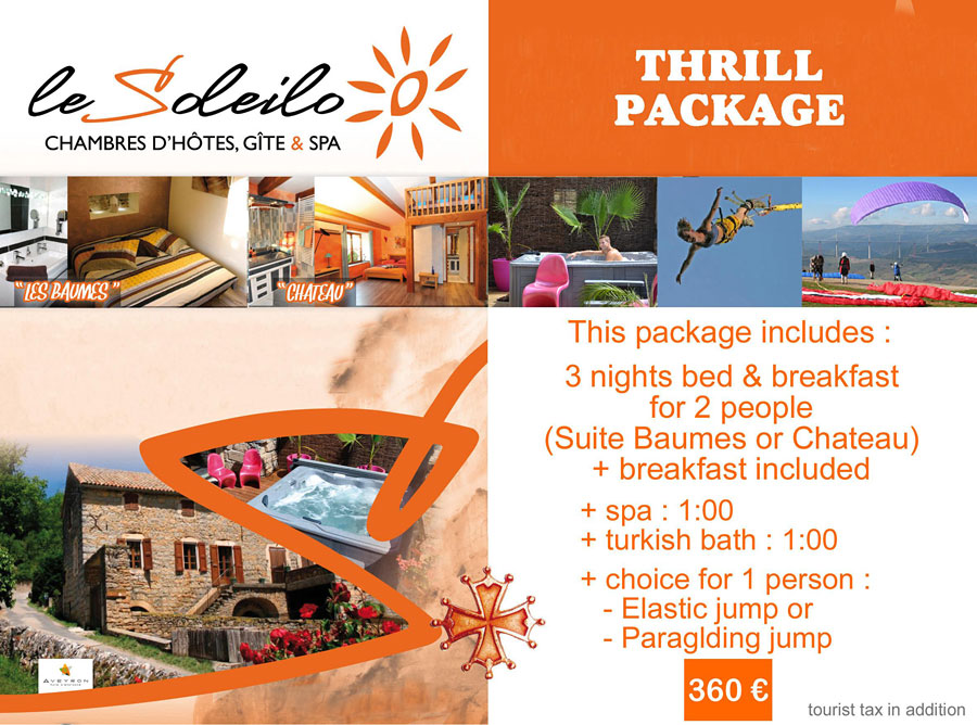 Thrill package : bed and breakfast with spa, turkish bath and elastic jump or paragliding in Millau