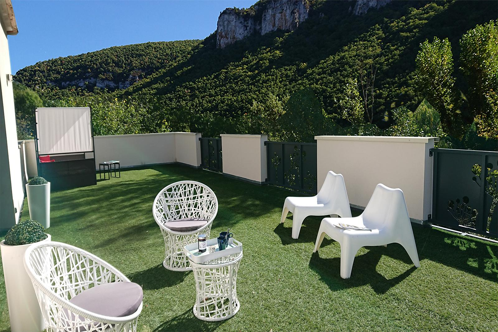 Solarium rooftop terrace with exceptional panoramic views of the Gorges of tarn exceptional villa wtih pool spa Aveyron