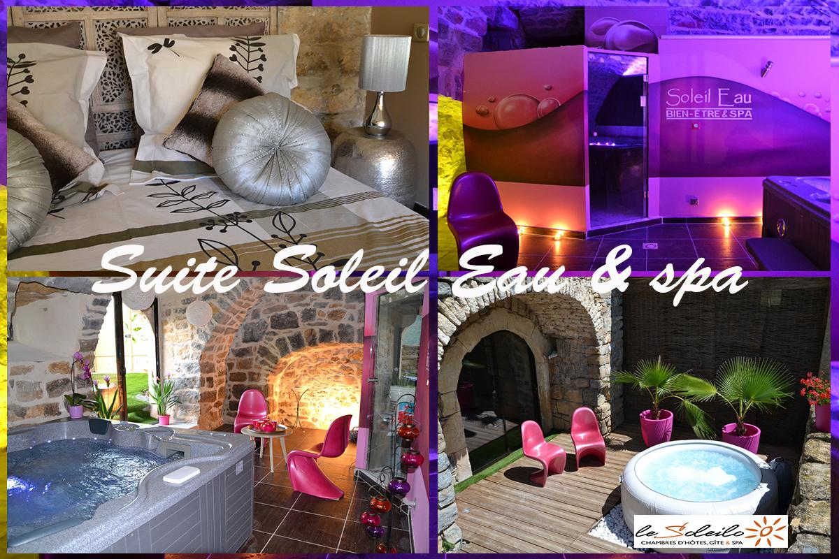 Suite Soleil Eau Spa, bed room with jacuzzi steam room Gorges du Tarn Aveyron