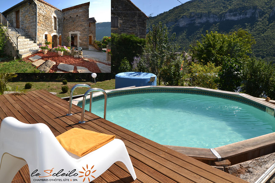 bed and breakfast with swimming pool and spa panoramic view on the Gorges of Tarn